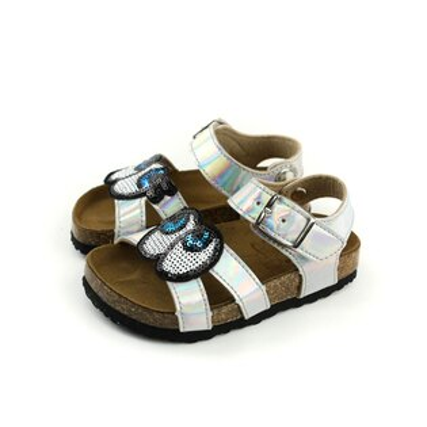 涼鞋童鞋大眼睛銀色中童7025-93no026