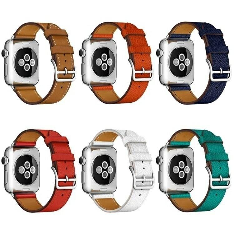 免運 錶帶 適用apple watch蘋果手錶帶真皮潮iwatch1/2/3男女38/42mm愛瑪仕