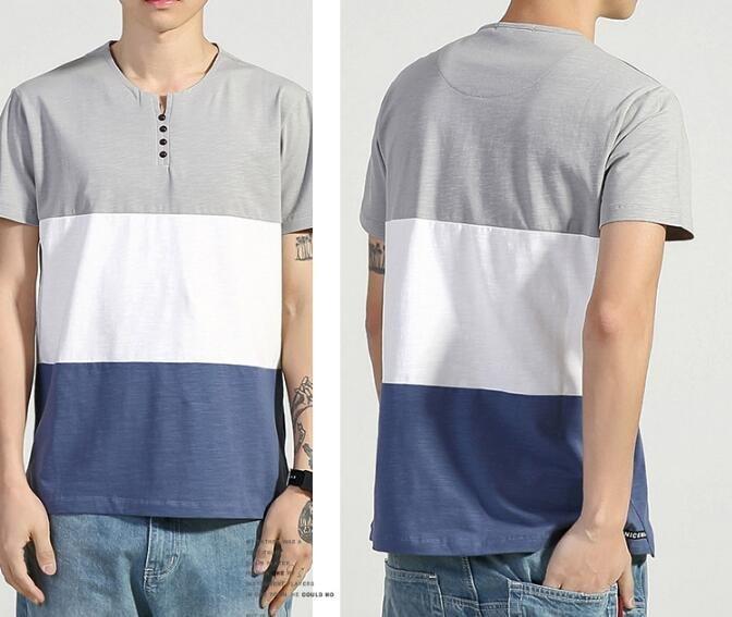 FINDSENSE MD 日系 時尚 潮 男 鈕扣小V領 三色拼接撞色 短袖T恤 特色短T