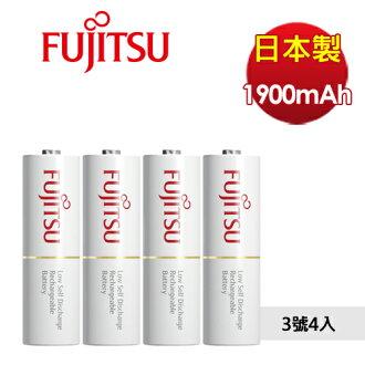 日本製 Fujitsu 富士通 HR-3UTC 最新低自放 3號AA可回充2100次充電電池 4入(附電池盒)