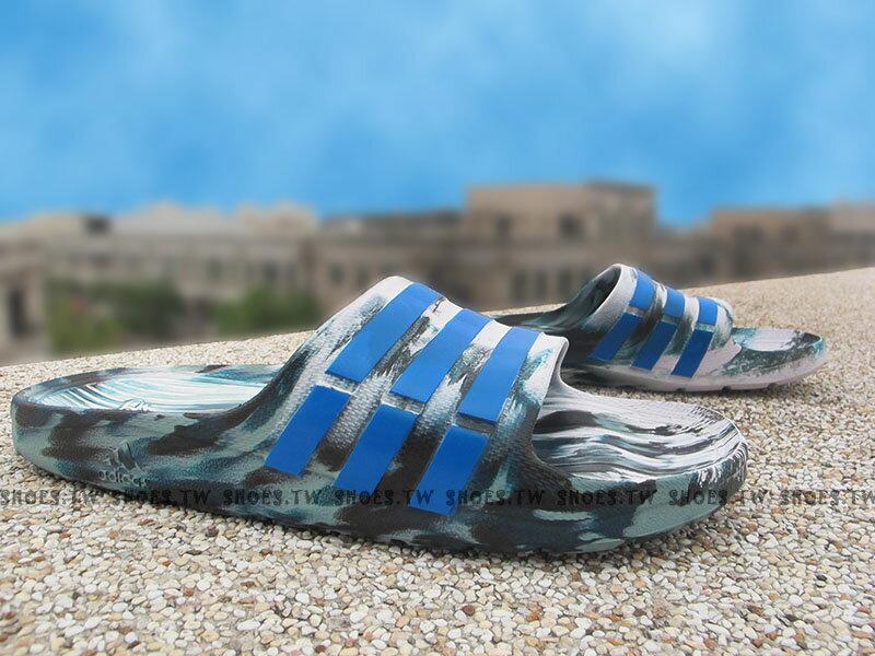 Shoestw【AQ5256】ADIDAS DURAMO SLIDE 拖鞋 一體成型 綠白藍 迷彩 男生