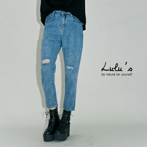 LULUS-B刷色雪花膝破洞牛仔褲S-L-藍 現【04010822】