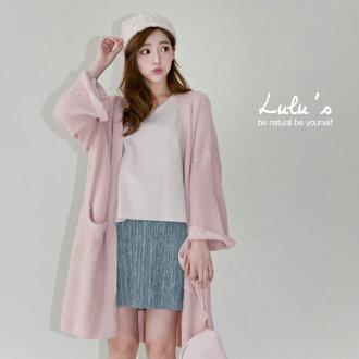 LULUS-E反摺寬袖長版開襟針織外套-3色 現+預【03030780】