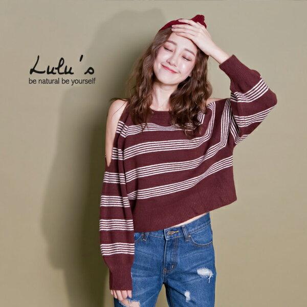 LULUS-E露肩三線橫紋寬袖針織上衣-2色  現+預【01051983】 0