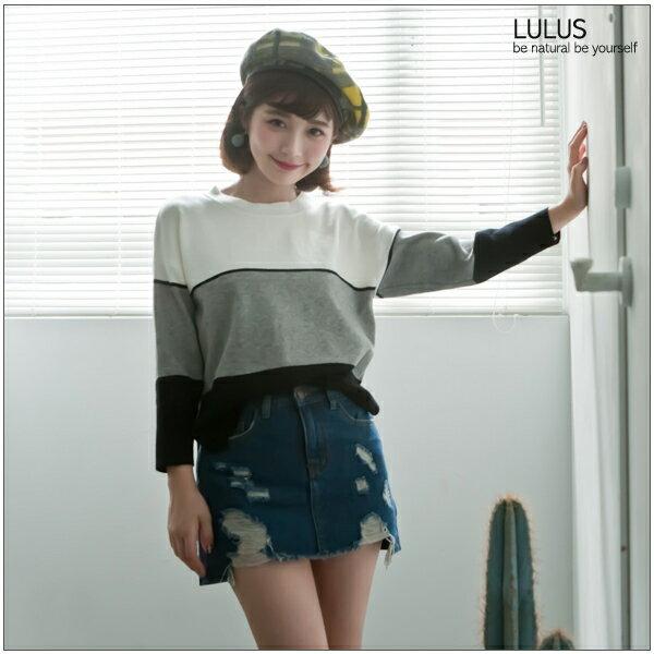 LULUS-P前後刷破牛仔短裙-內襯褲-25-29-藍  現+預【05010946】 2