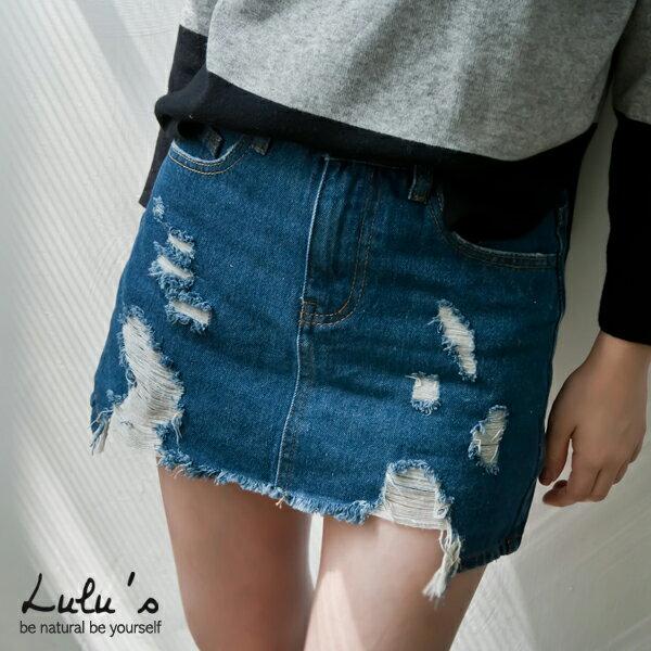 LULUS-P前後刷破牛仔短裙-內襯褲-25-29-藍  現+預【05010946】 0