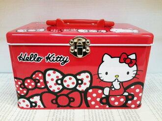 【真愛日本】13100900025 手提大鐵盒-多結紅 KITTY 凱蒂貓 三麗鷗 鐵盒 手提收納盒 生活雜貨