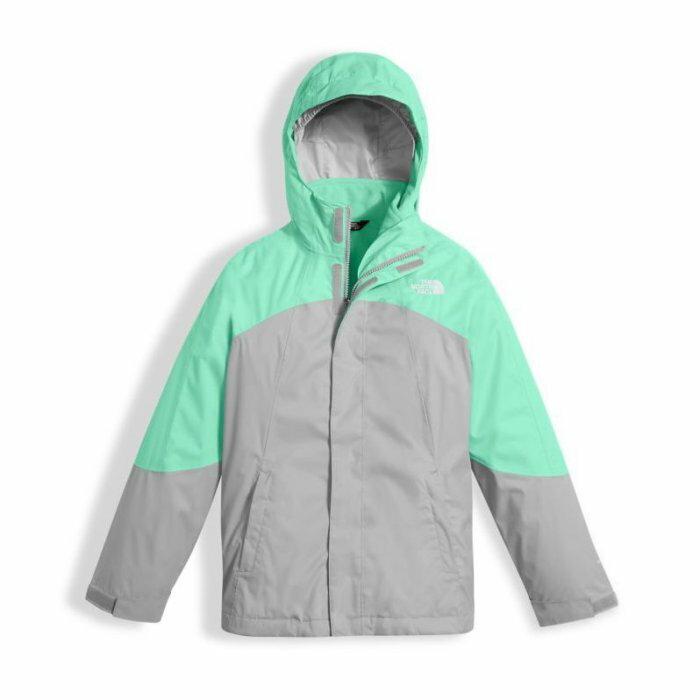 美國百分百【The North Face】防風連帽外套 TNF 保暖 夾克 兩件式 北臉 拼色 薄荷綠灰色 女 I803