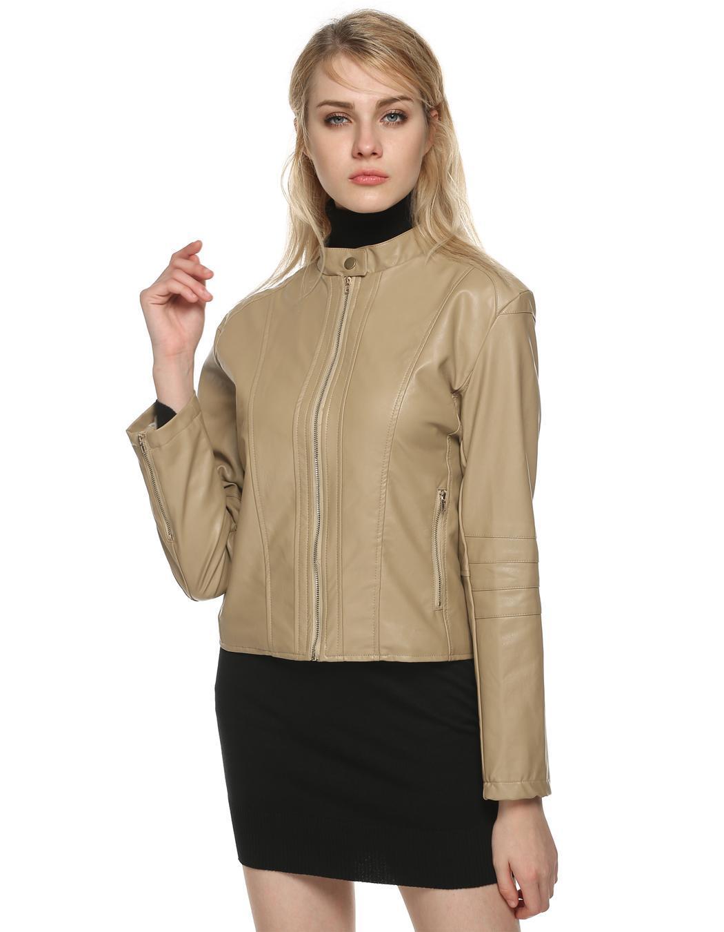 Women Long Sleeve Synthetic Leather Casual Bike Jacket Short Coat 1