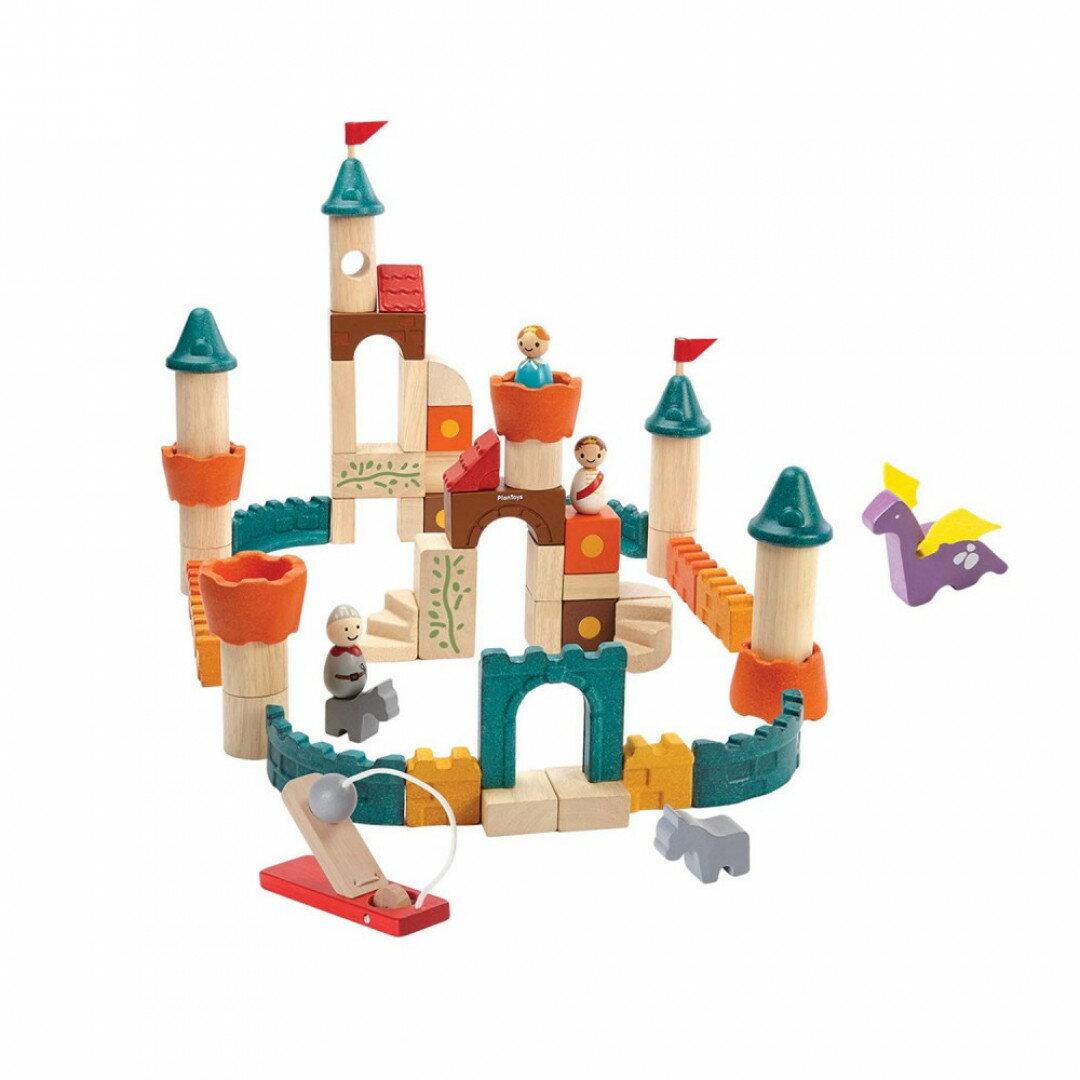 《  PLAN TOYS 》木製 飛龍城堡木質積木組 東喬精品百貨