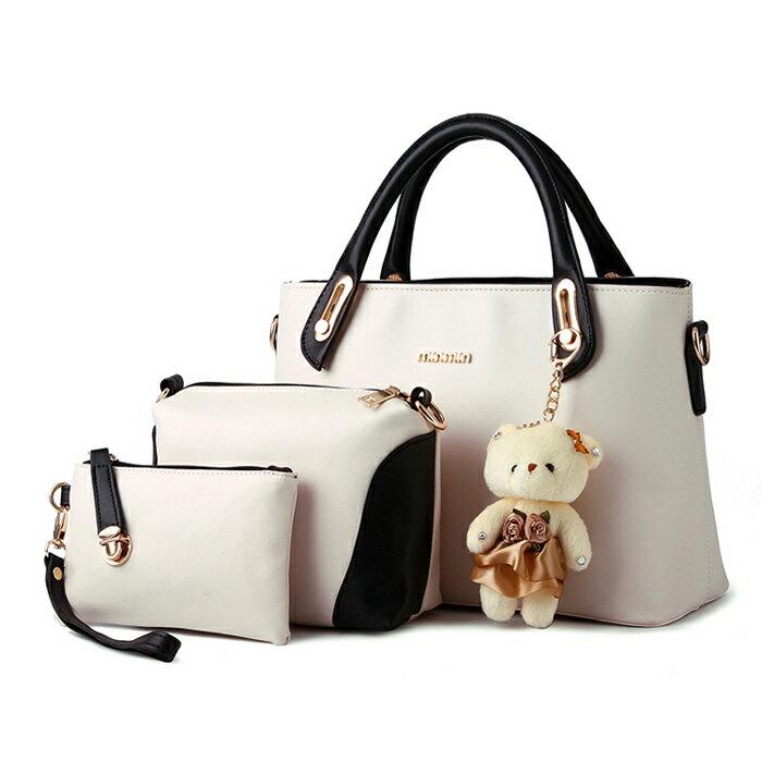 經典時尚撞色潮流小熊吊飾包中包三件組 #KLY8878 0