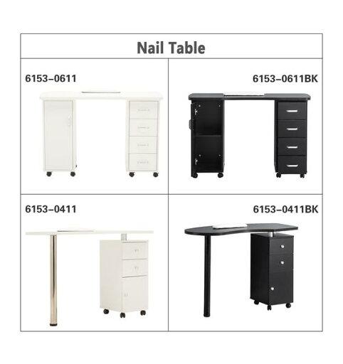 BarberPub Manicure Table Nail Table Spa Beauty Salon Nail Station Desk Nail Art Equipment 0411/0611, White, or Black fd74091d474dd7c1420341887b176d90
