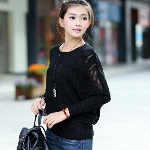 針織上衣 - 立體壓線鏤空拼接羅紋長袖針織衫 毛衣 上衣【29175】 《5色》Blue Paris 3