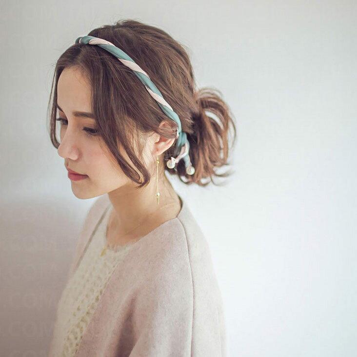 雪紡珍珠可定型纏繞髮帶 髮箍
