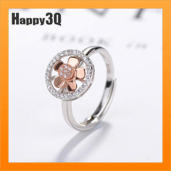 風扇戒指S925純銀戒指玫瑰金女生戒指會動戒指水鑽送禮物風車戒【AAA4242】