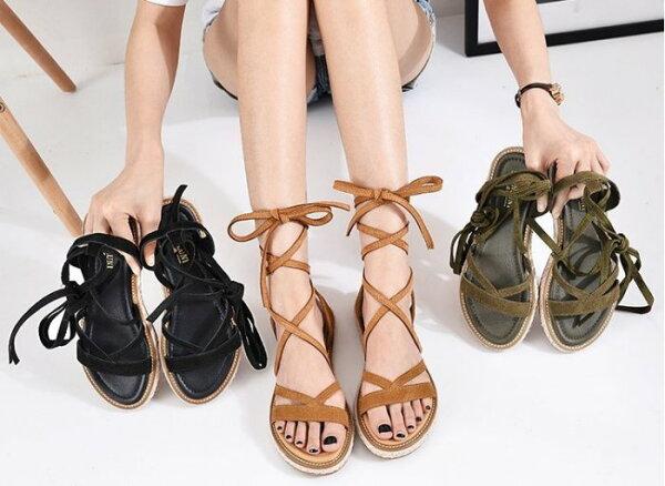 Pyf♥民族風草編羅馬交叉綁帶防滑平底涼鞋43大尺碼女鞋