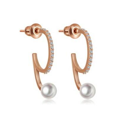 ~純銀耳環鍍18K金鑲鑽耳飾~ 特別 情人節生日 女飾品2色73cr389~ ~~米蘭 ~