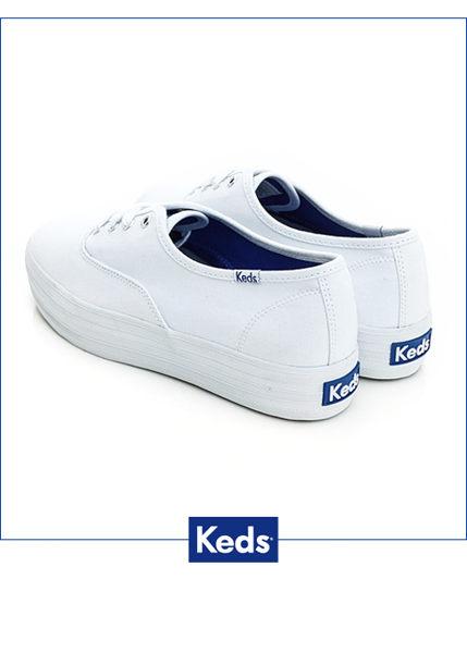 KEDS 171W130026 經典厚底帆布鞋 白鞋綁帶懶人鞋厚底休閒鞋 2