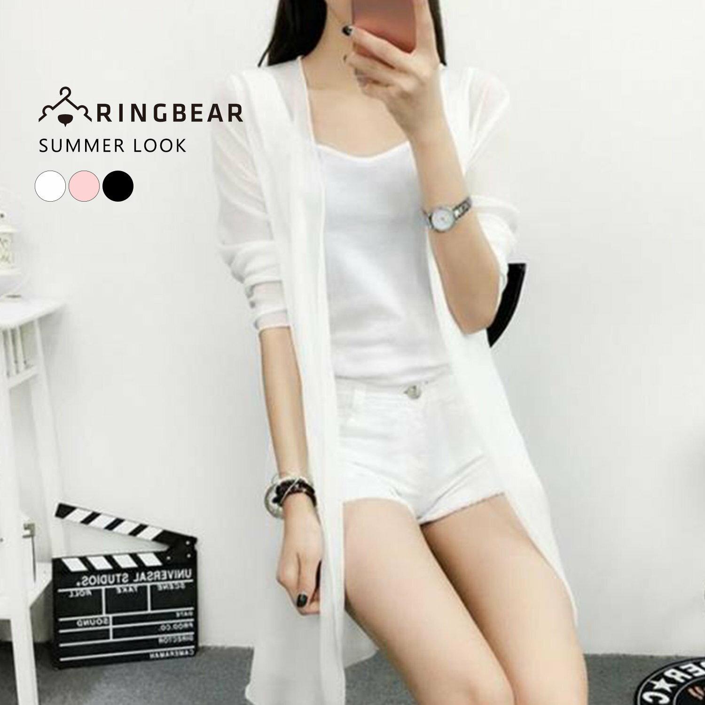 雪紡--飄逸氣質透膚開襟簡約剪裁直條雪紡罩衫(白.黑.粉XL-4L)-J214眼圈熊中大尺碼 0
