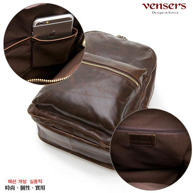 【Vensers】小牛皮潮流個性包~後背包(NE054602咖啡) 5