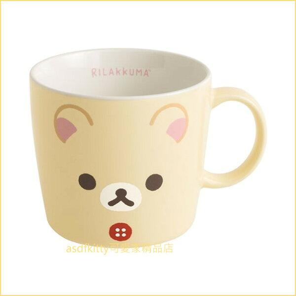 asdfkitty可愛家☆日本san-x懶熊懶妹拉拉熊妹牛奶熊大臉陶瓷馬克杯-日本製