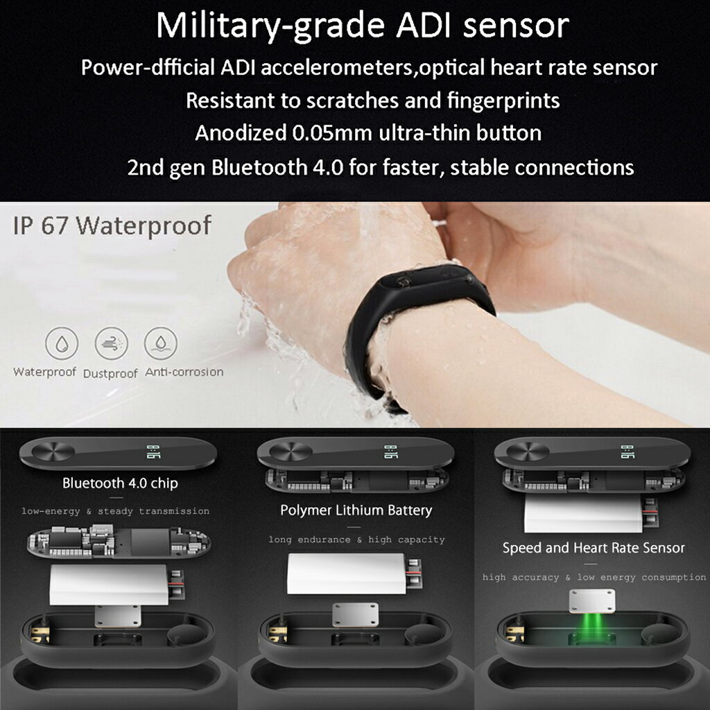 Smart Wristband Fitness Activity Tracker With OLED Display Touchpad Heart Rate Monitor Pedometer Waterproof Wireless Bluetooth 4.0 Support Android 4.4 SUMSUNG GOOGLE HTC SONY and iphone 5/6/6s/7 IOS 7.0 (Black) 8