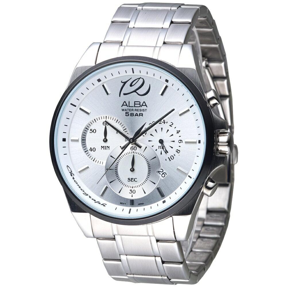 HANNA時計腕錶 ALBA手錶 極速甩尾三眼計時雅痞男錶(AT3A47X1)-銀白