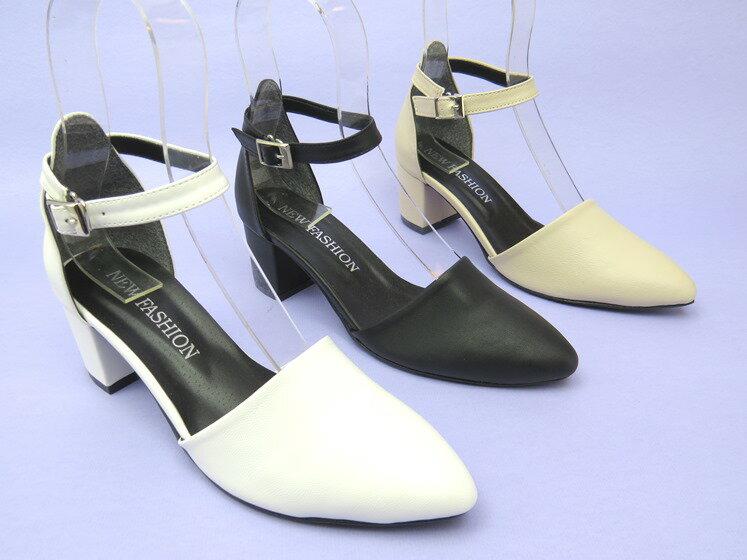 *高跟鞋* 簡約繞踝高跟尖頭頭包鞋04-903(黑/白/米)☆【彩虹屋】☆現+預