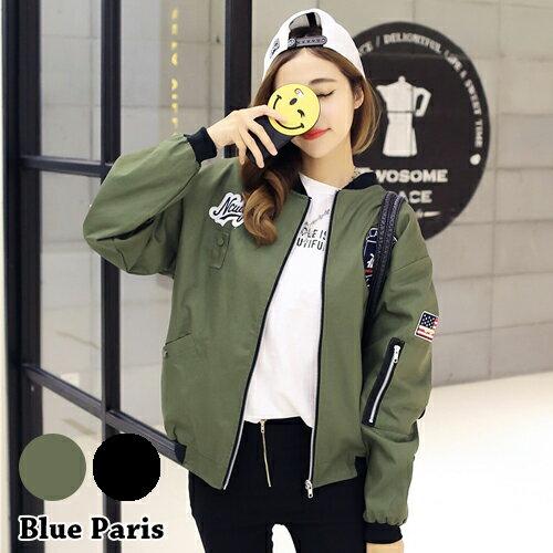 飛行外套 - 貼布徽章拉鍊開衫夾克外套 棒球外套 上衣【29208】藍色巴黎《2色》現貨+預購 0