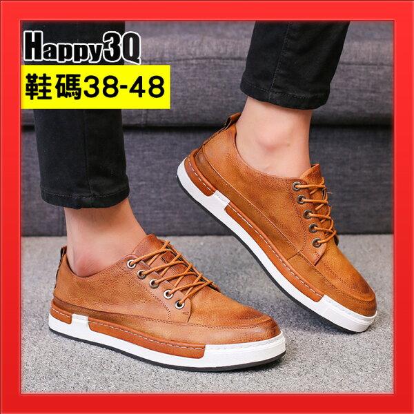 大尺碼鞋47碼平底鞋圓頭綁帶鞋子加大11碼男鞋48-黑棕黃灰38-48【AAA4015】