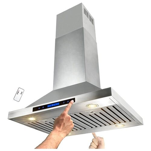 "AKDY 30"" Stainless Steel Island Mount Range Hood Touch Screen Display Light Lamp Baffle Filter RH0173 1"