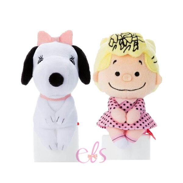 日本迪士尼 療癒Q版 毛絨玩偶 坐姿娃娃 擺飾 史努比貝兒BELLE/史努比莎莉布朗 兩款供選 ☆艾莉莎ELS☆