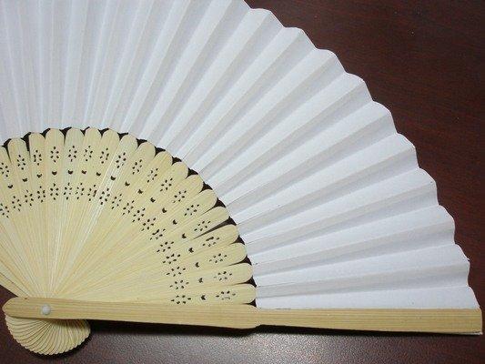 8英吋空白扇子 彩繪扇子 21cm 單面紙手繪扇 / 一支入 { 定30 }  日本扇子 小紙摺竹片~5153 2