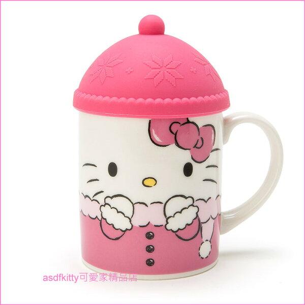 asdfkitty可愛家☆KITTY溫暖陶瓷馬克杯附帽型矽膠杯蓋-可微波-日本正版商品
