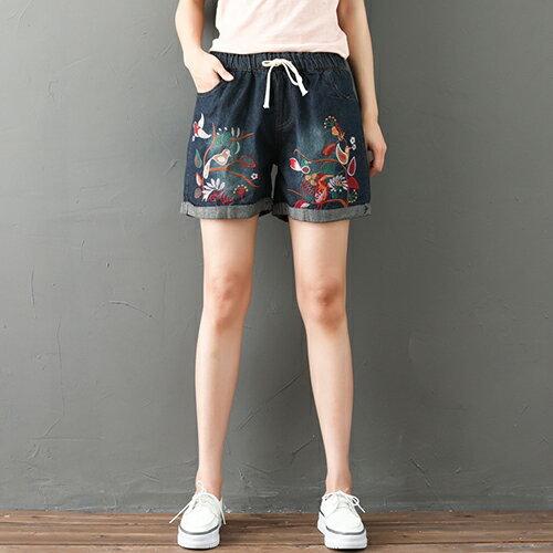 *ORead*民族風刺繡鬆緊腰牛仔短褲(藍色L~XL)