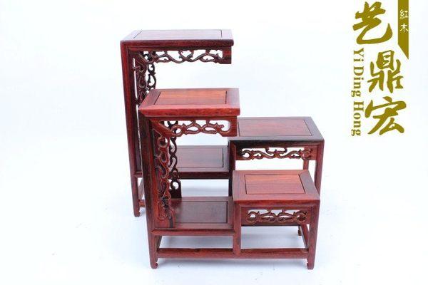 紅木工藝品*紫砂壺底座*紅酸枝高低*多寶格*博古架