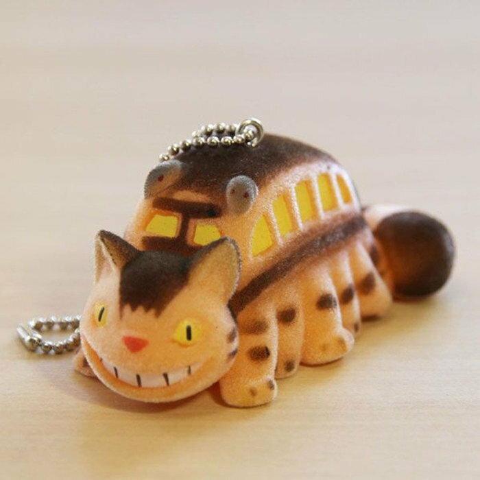 【真愛日本】7082200024 植毛公仔珠鍊鎖圈-貓公車  龍貓 TOTORO 豆豆龍 鎖圈 吊飾 鑰匙圈