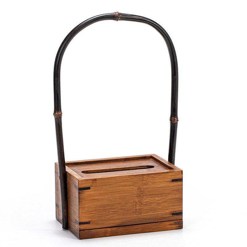 竹制提手紙巾盒 中式輕奢家用創意收納盒 卷紙紙巾抽紙盒