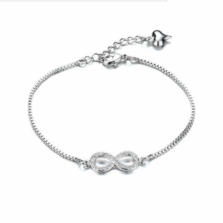 【5折超值價】情人節禮物 最新款時尚精美8字鑲鑽造型女款鍍白金手鍊