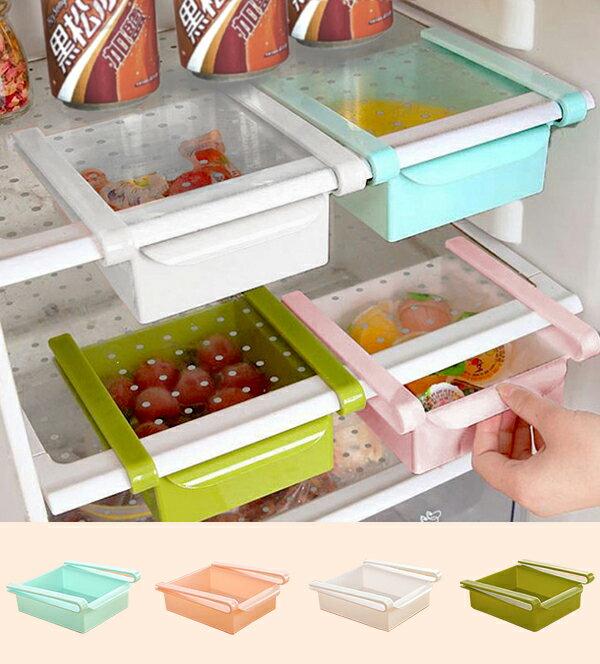 【aife life】冰箱懸掛夾式收納盒/日式冰箱收納盒/食品飲料抽屜式儲物盒/收納盒/整理籃/雞蛋盒/玻璃桌/懸掛式/可抽動式