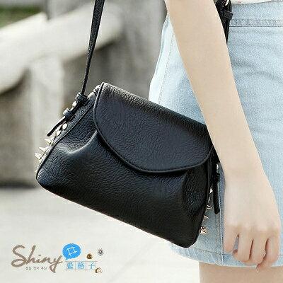 【P012】shiny藍格子-英倫學院風.春夏新款時尚韓版複古包鉚釘包斜跨單肩小包