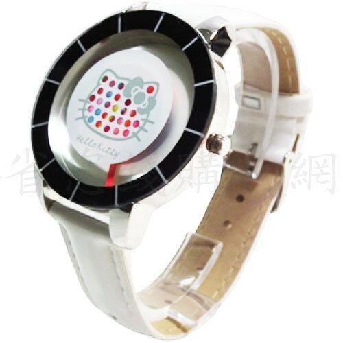 《省您錢購物網》全新~HELLO KITTY彩虹網點秒盤合金錶-白色(HKFR912-01A)+贈tweety卡通雙鈴鬧鐘一台