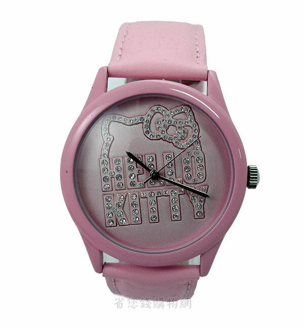 ~省您錢 網~ ^~Hello Kitty 立體 鑲鑽 粉紅皮革錶~ 三麗鷗海外 版^(H