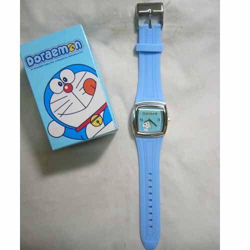 《省您錢購物網》全新~ doraemon 多啦A夢小叮噹 仿牛仔皮塑膠錶 正方形(藍色)