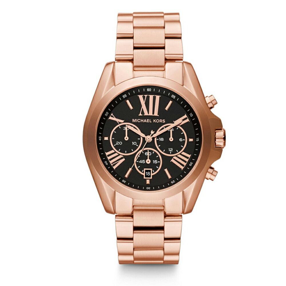 【MICHAEL KORS】正品 玫瑰金羅馬數字黑色錶盤三眼腕錶 MK5854