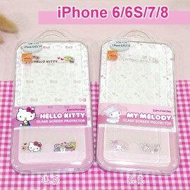 三麗鷗玻璃保護貼iPhone66S78(4.7吋)HelloKitty雙子星美樂蒂【正版授權】