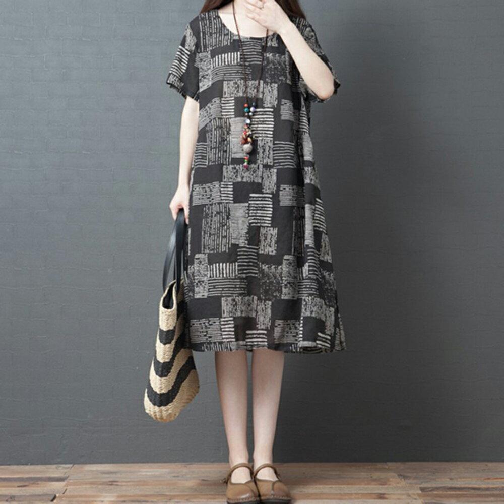 韓版寬鬆大碼格子中長款連身裙(圖片色M~2XL)【OREAD】 - 限時優惠好康折扣