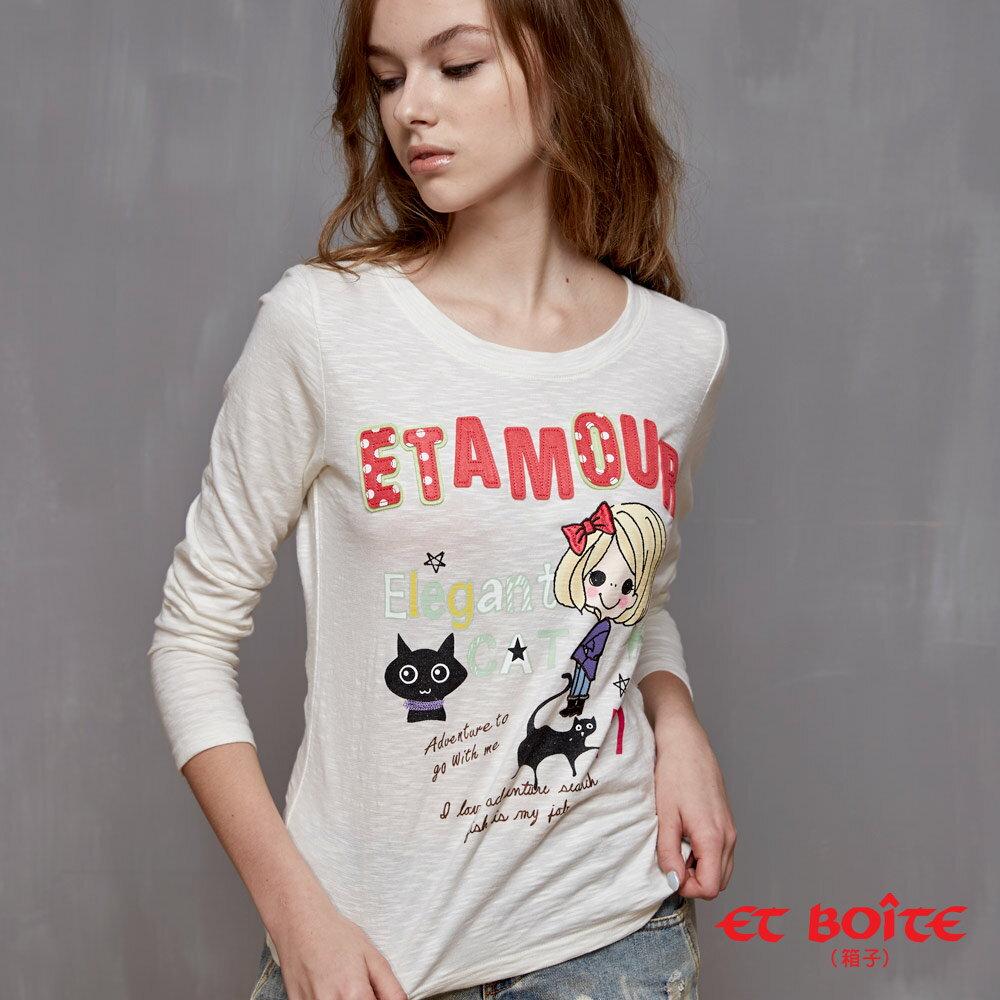 【1280元優惠↘】ET BOiTE 箱子  ET Amour 優雅帽娃T恤(白) - 限時優惠好康折扣