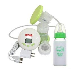 【奇買親子購物網】超靜音八段式液晶電動手動吸乳器ST288+哈皮蛙 標準口徑玻璃奶瓶140ml