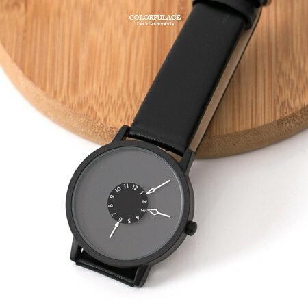手錶 簡約無印獨特錶盤 皮革腕錶 都會 款 情侶對錶 柒彩年代~NE1775~單支售價